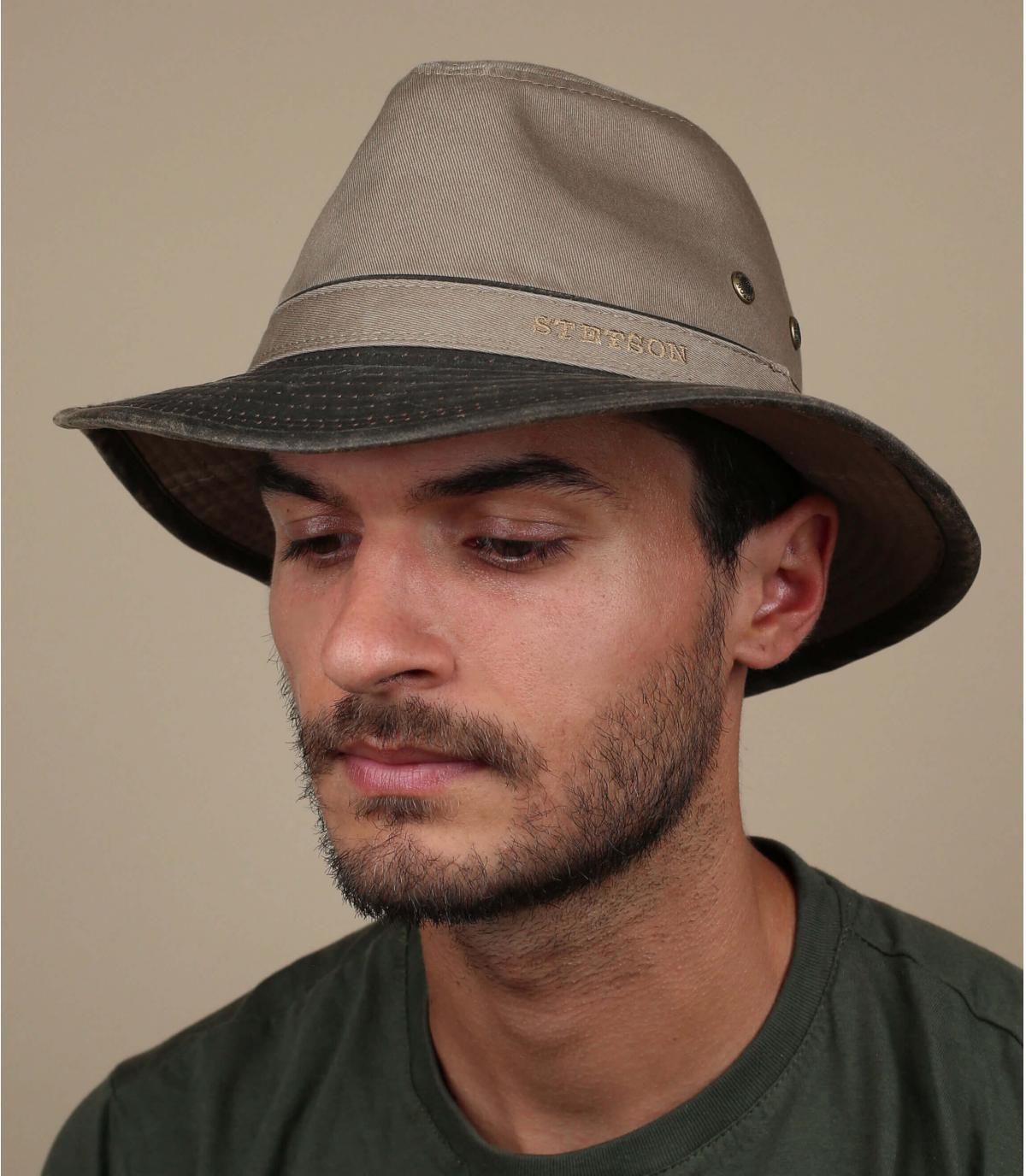 chapeau voyage coton gris
