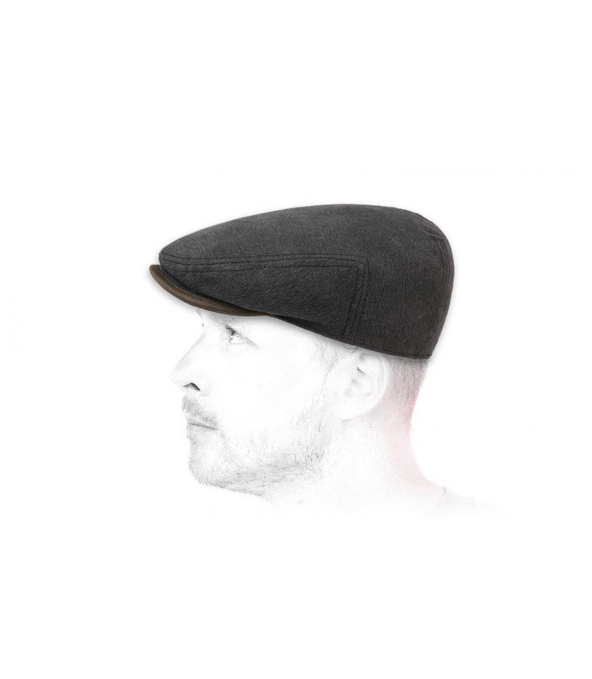 casquette plate coton noire
