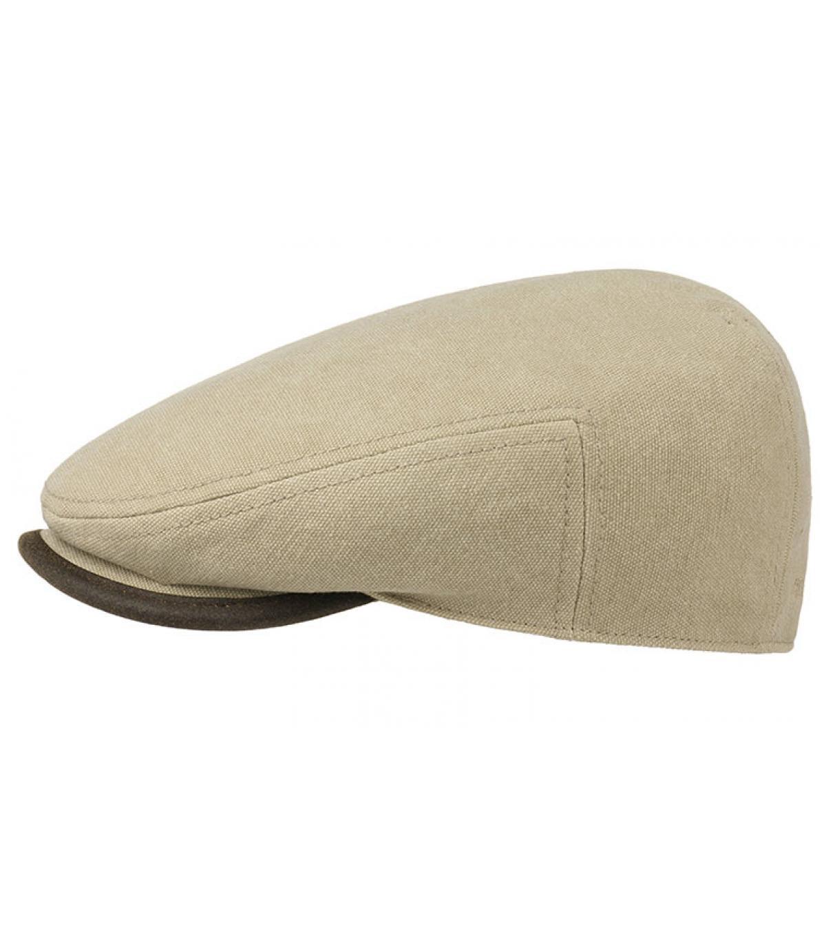 casquette plate coton beige