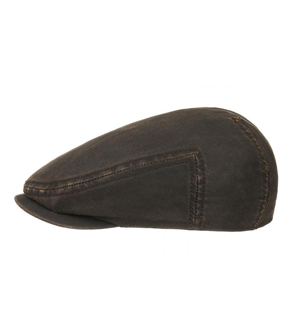 casquette plate coton huilé marron
