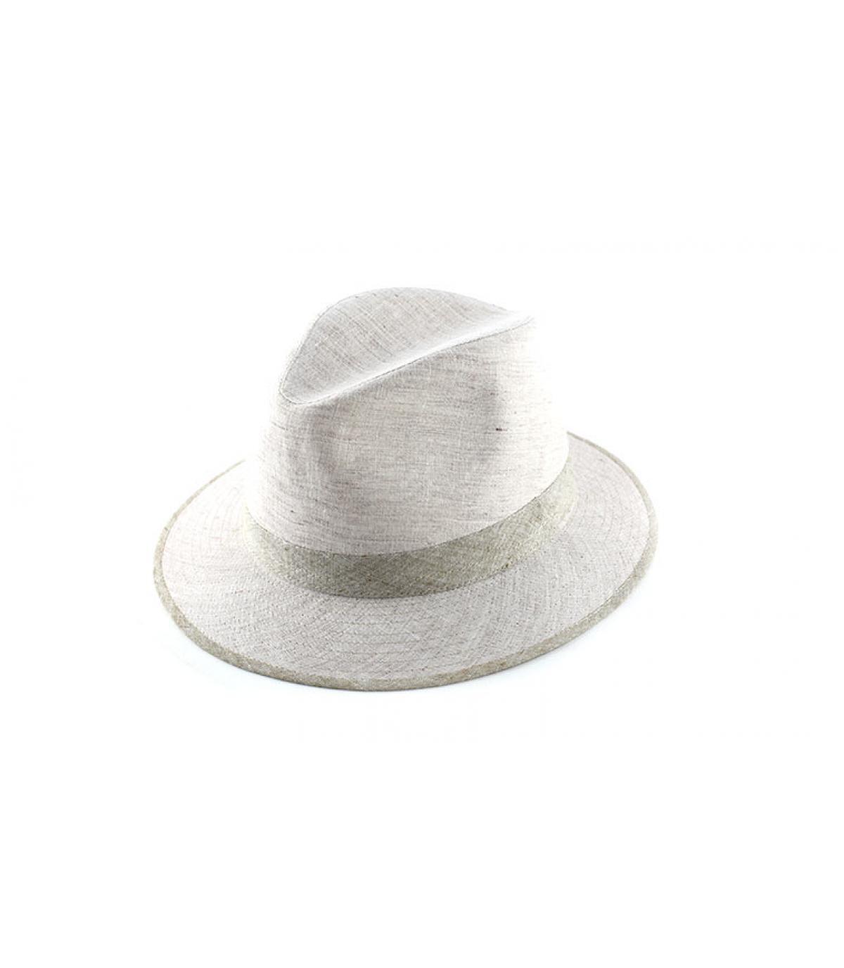 chapeau tissu blanc galon beige