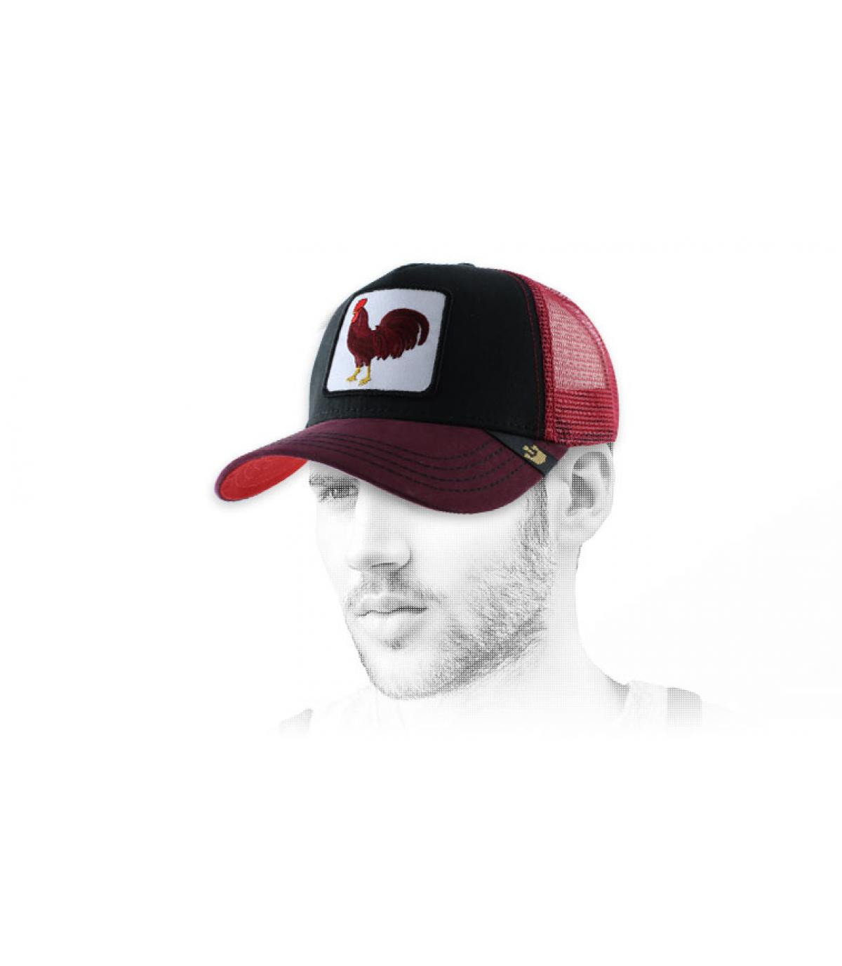 casquette coq rouge