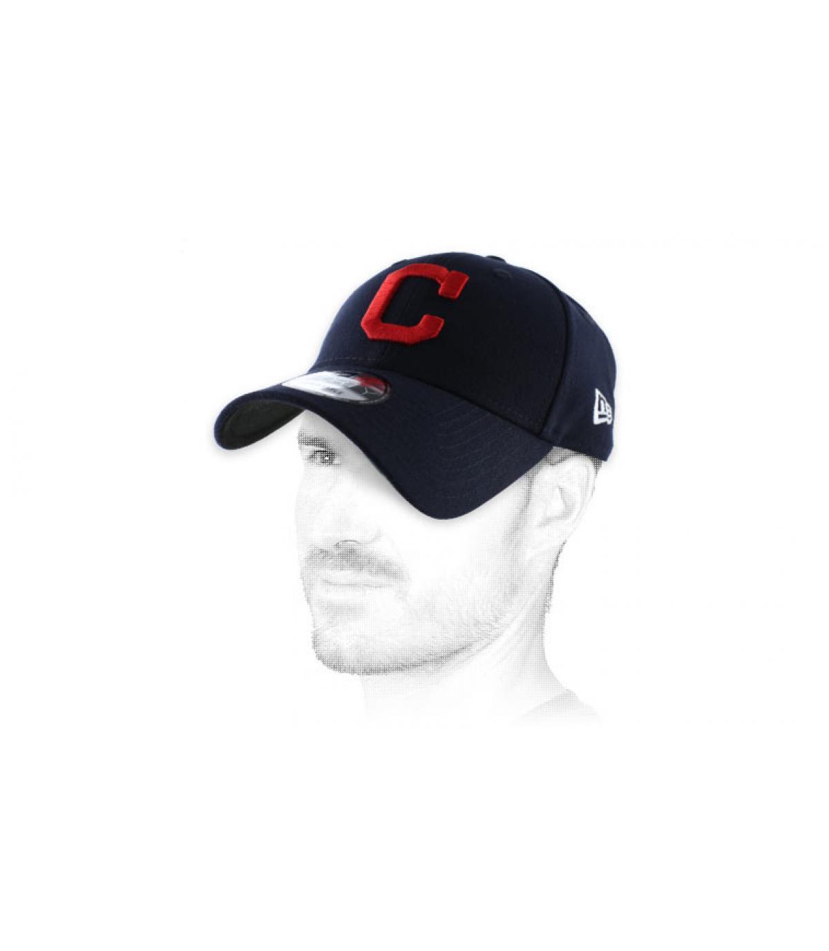 casquette curve C rouge bleu