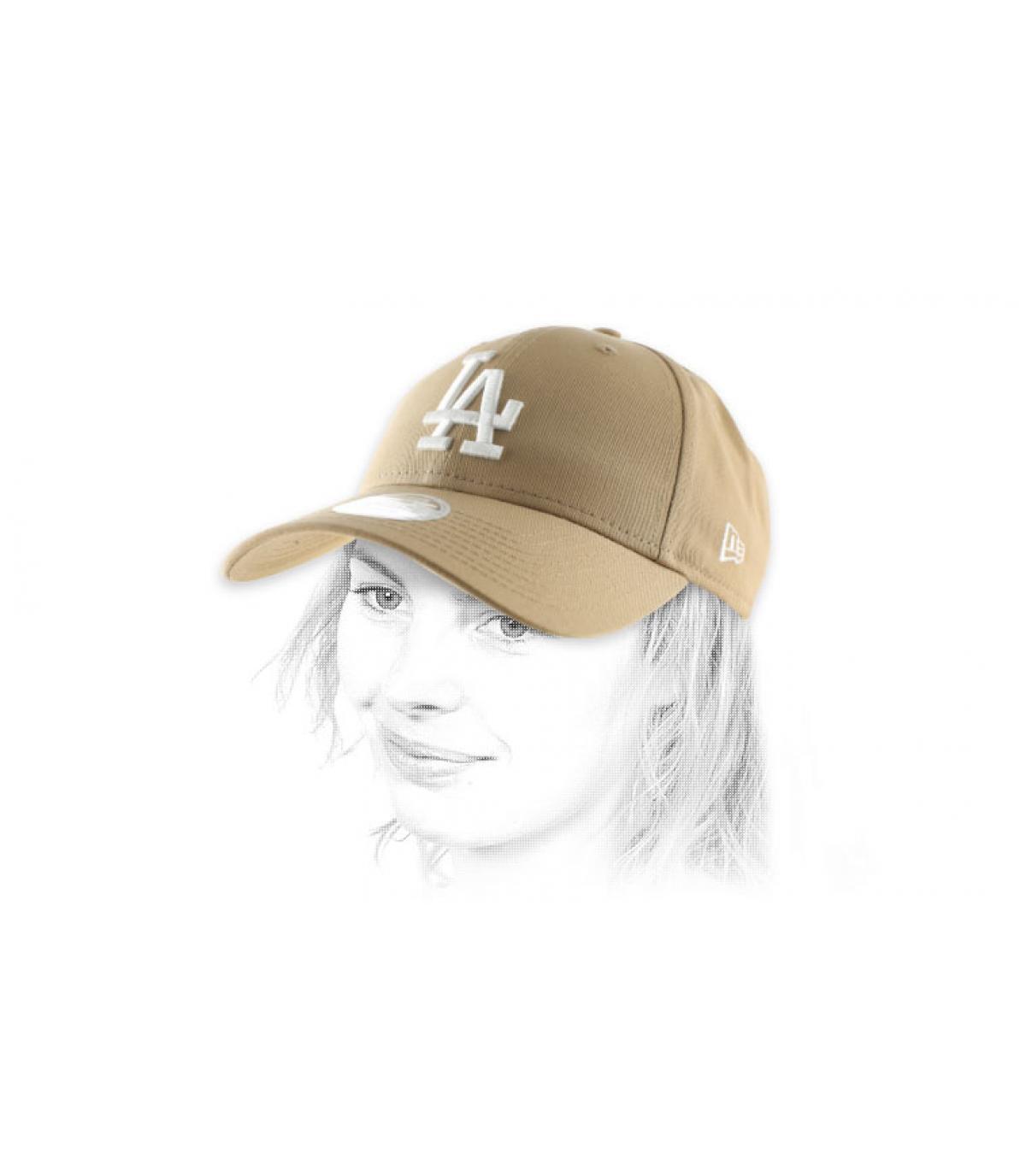casquette femme LA beige