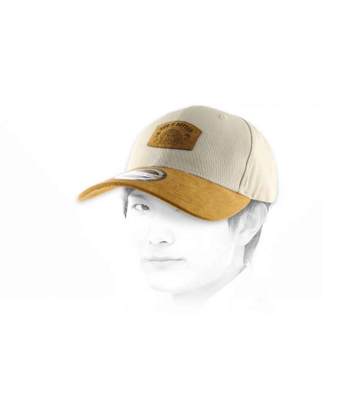 cap curve tandem beige camel