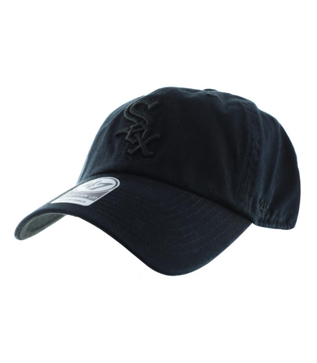 cap curve sox noire casquette clean up sox all black par 47 brand headict. Black Bedroom Furniture Sets. Home Design Ideas