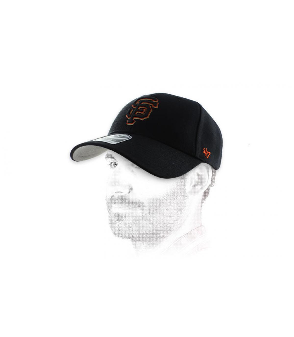 casquette SF noire orange