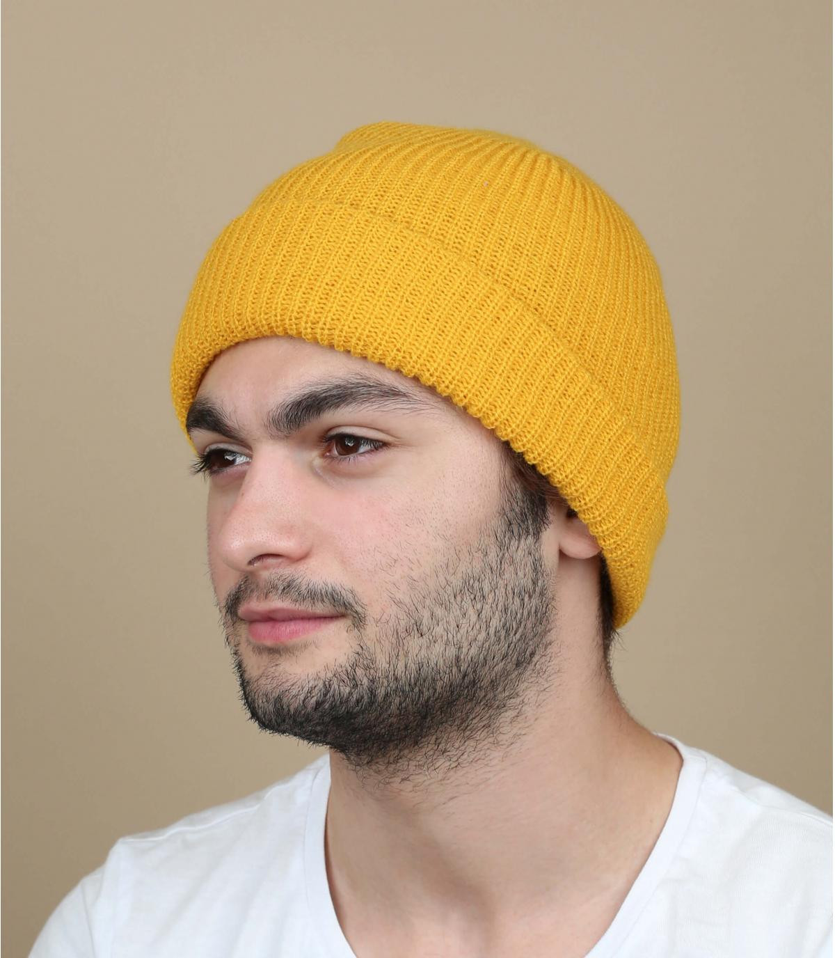 bonnet revers moutarde Brixton