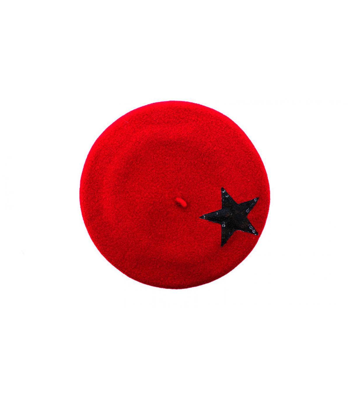 béret étoile paillette rouge