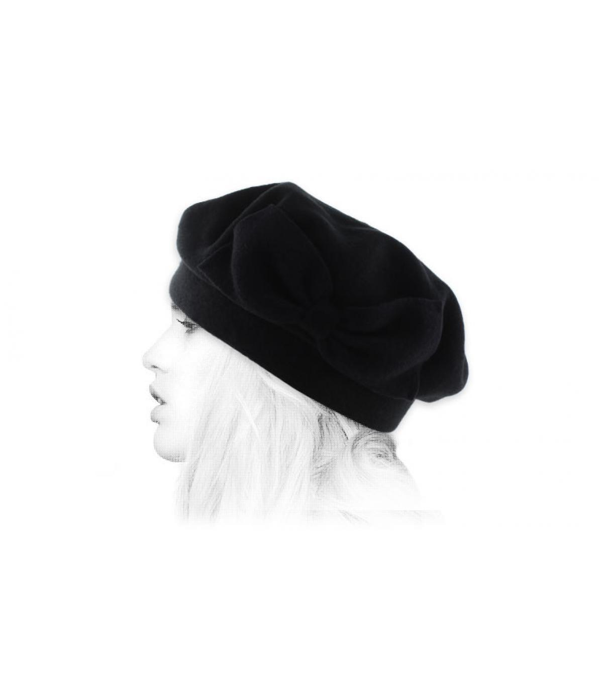 béret noir nœud Laulhère