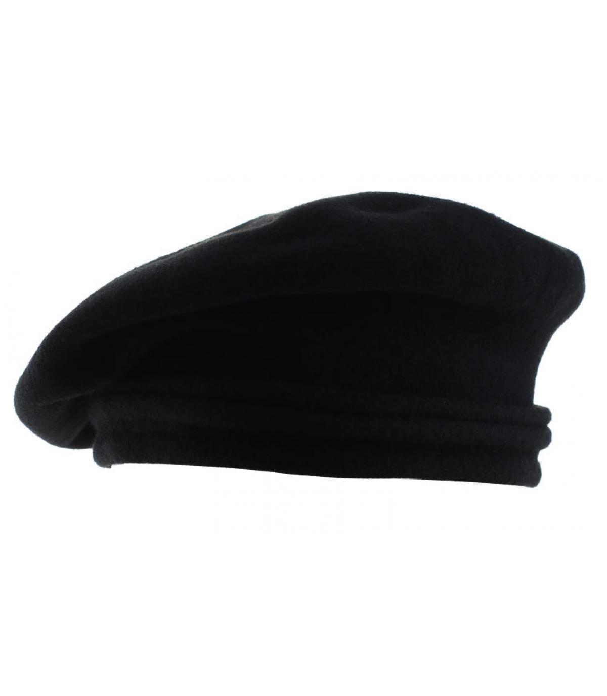 béret incliné noir laine