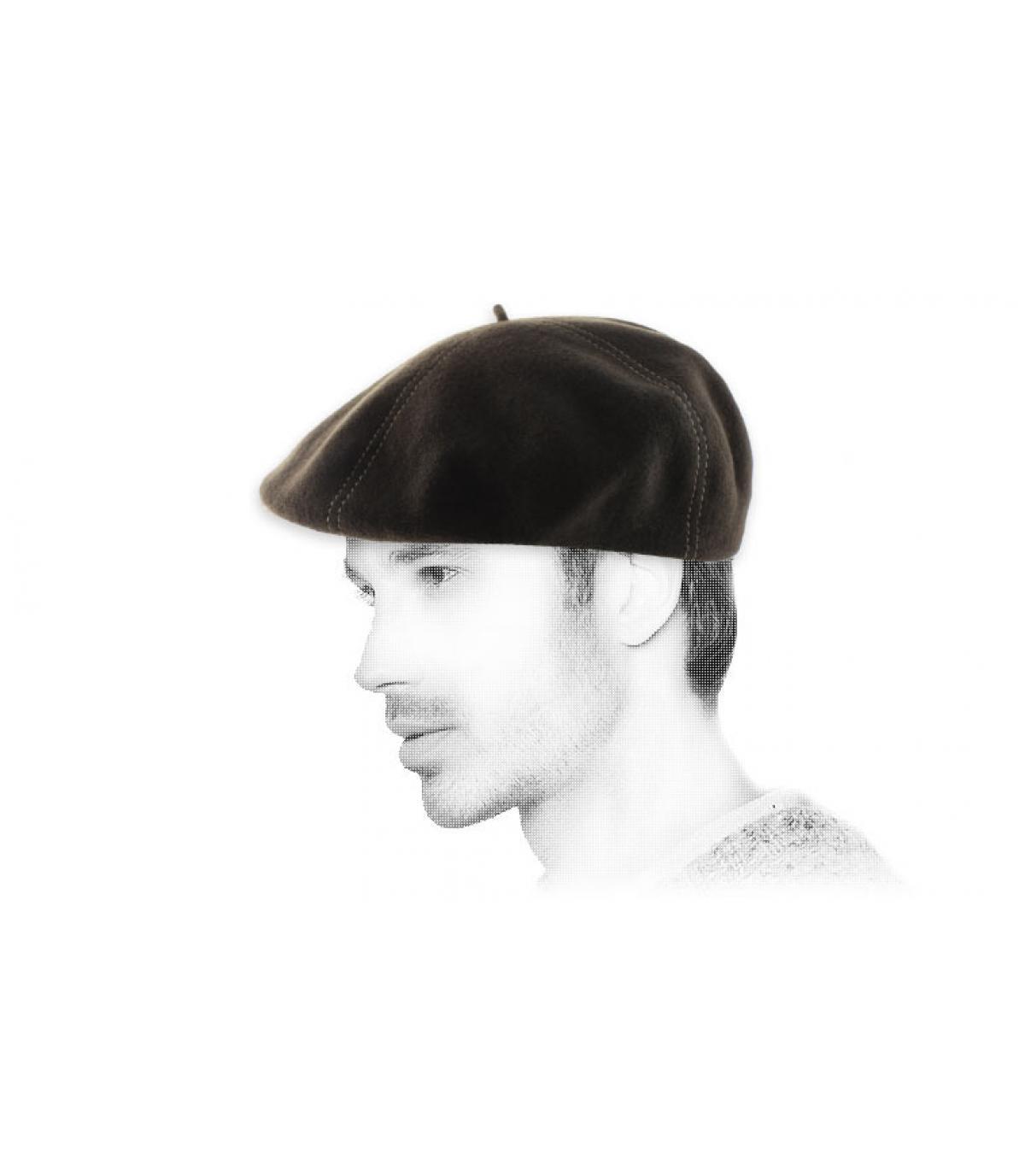 béret casquette marron laine