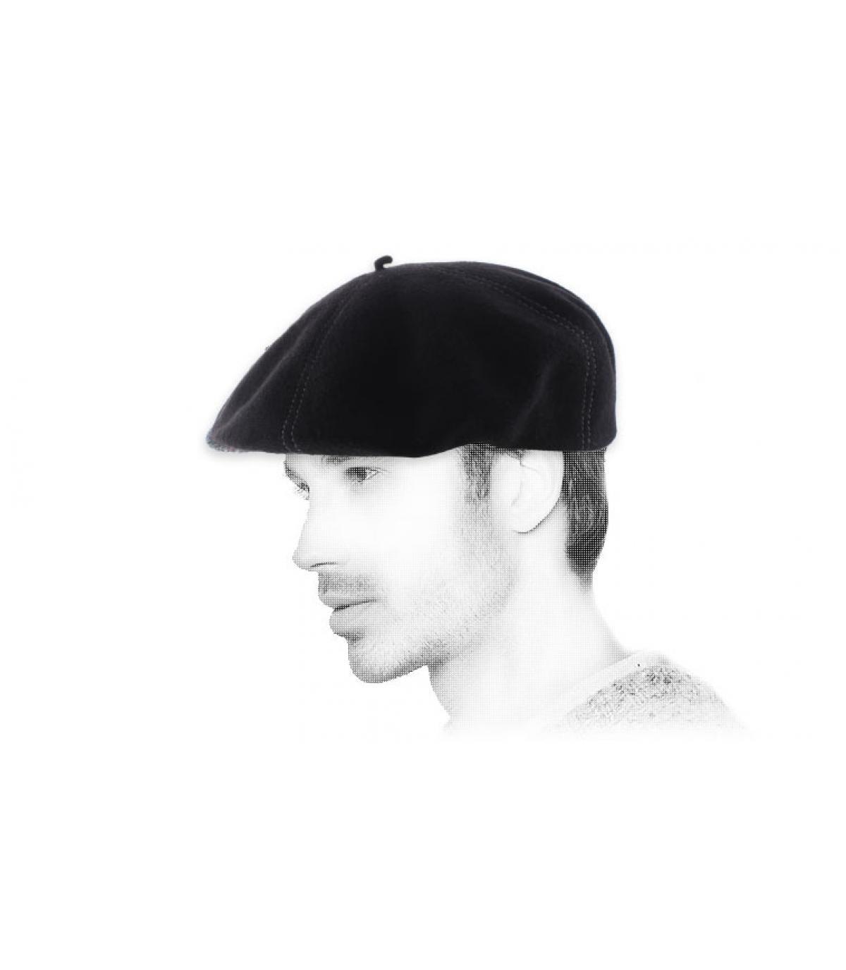 béret casquette noir laine