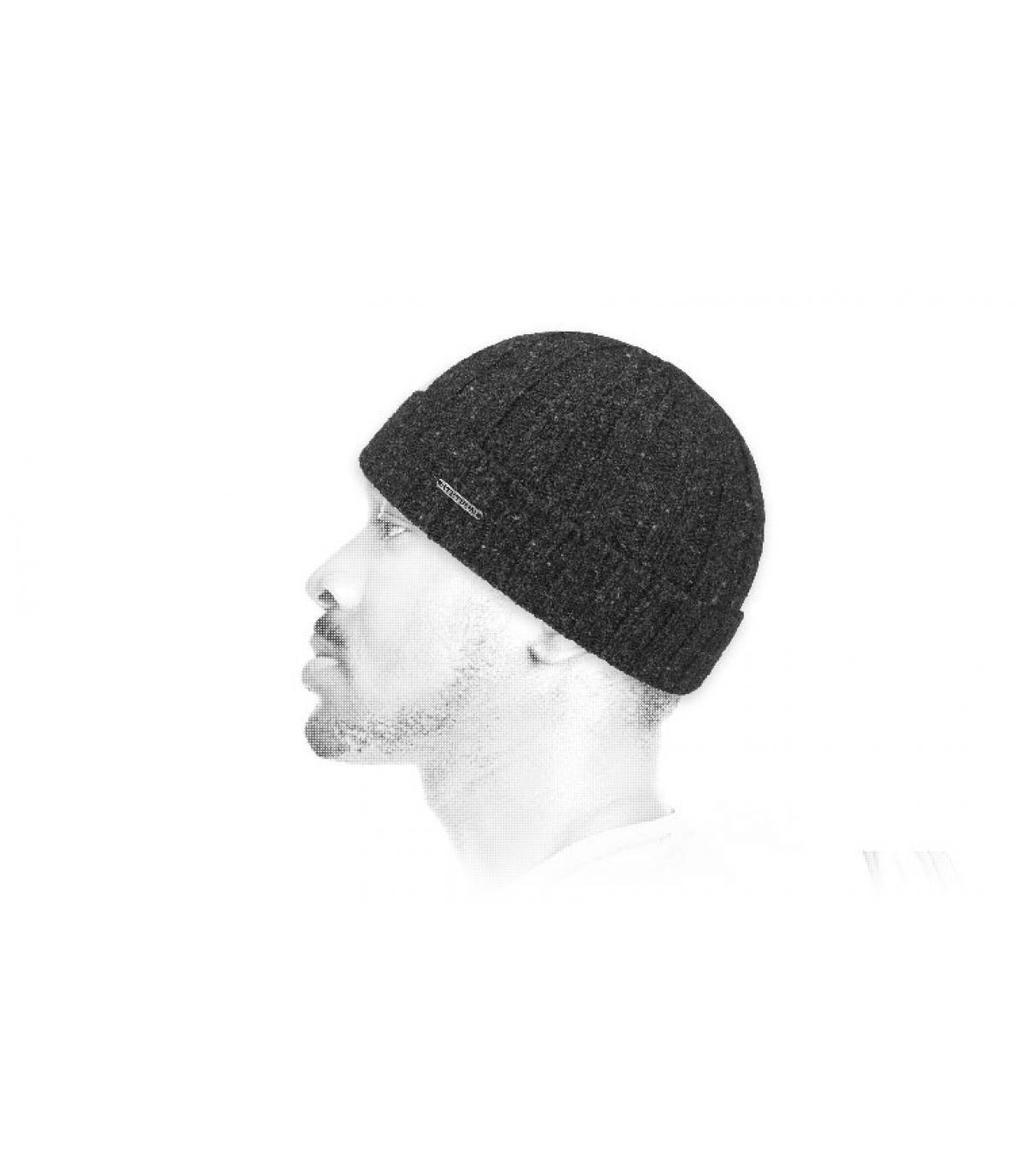 bonnet revers gris laine