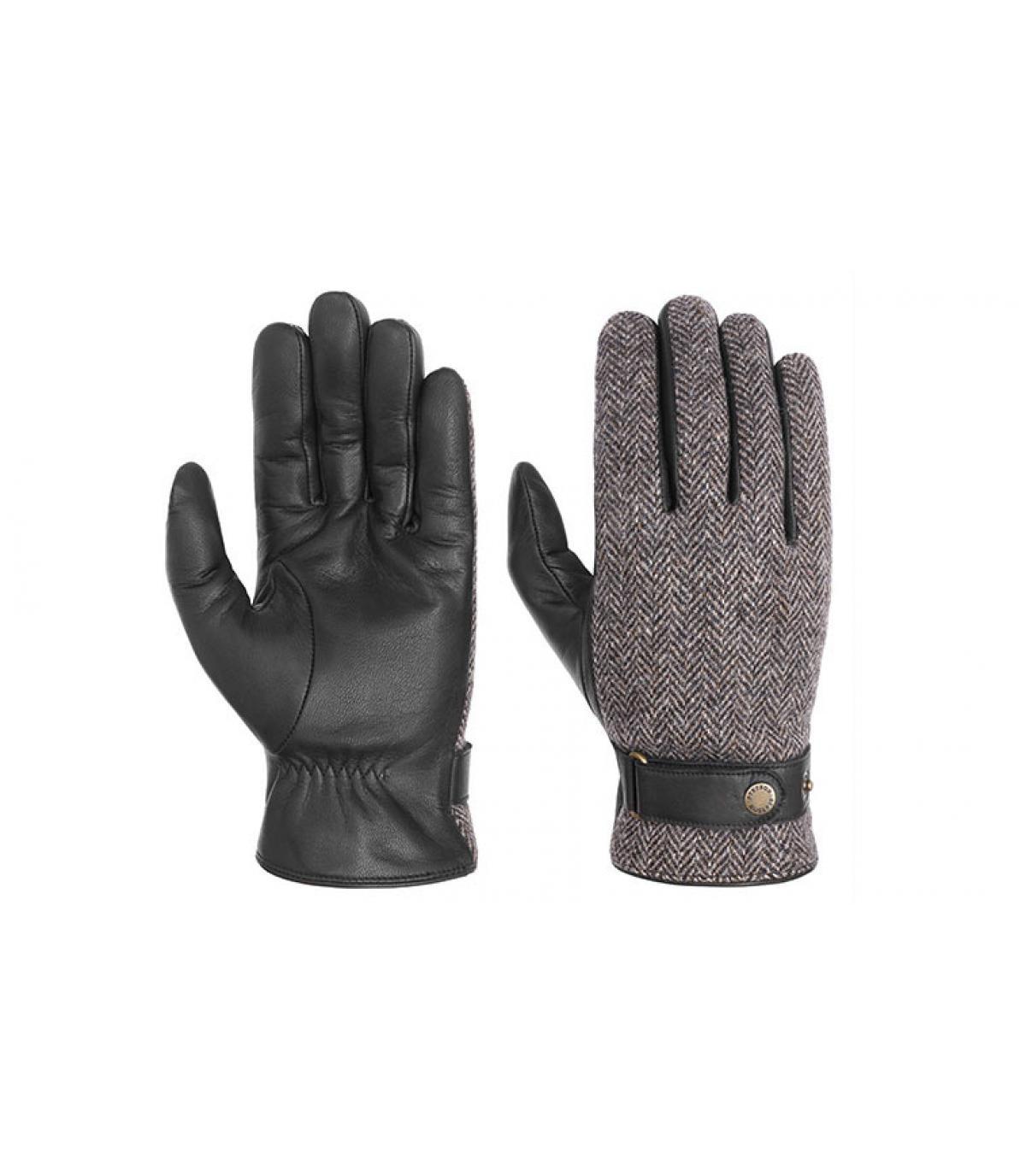 gants cuir et tweed Stetson