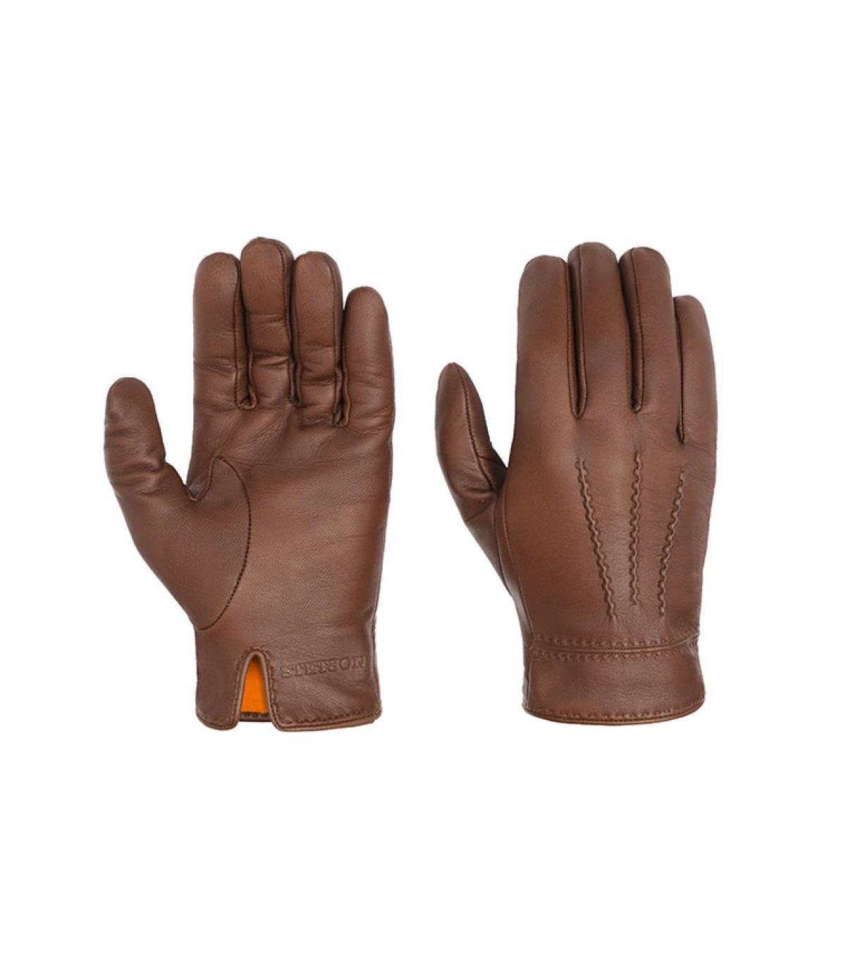 gants cuir marron Stetson