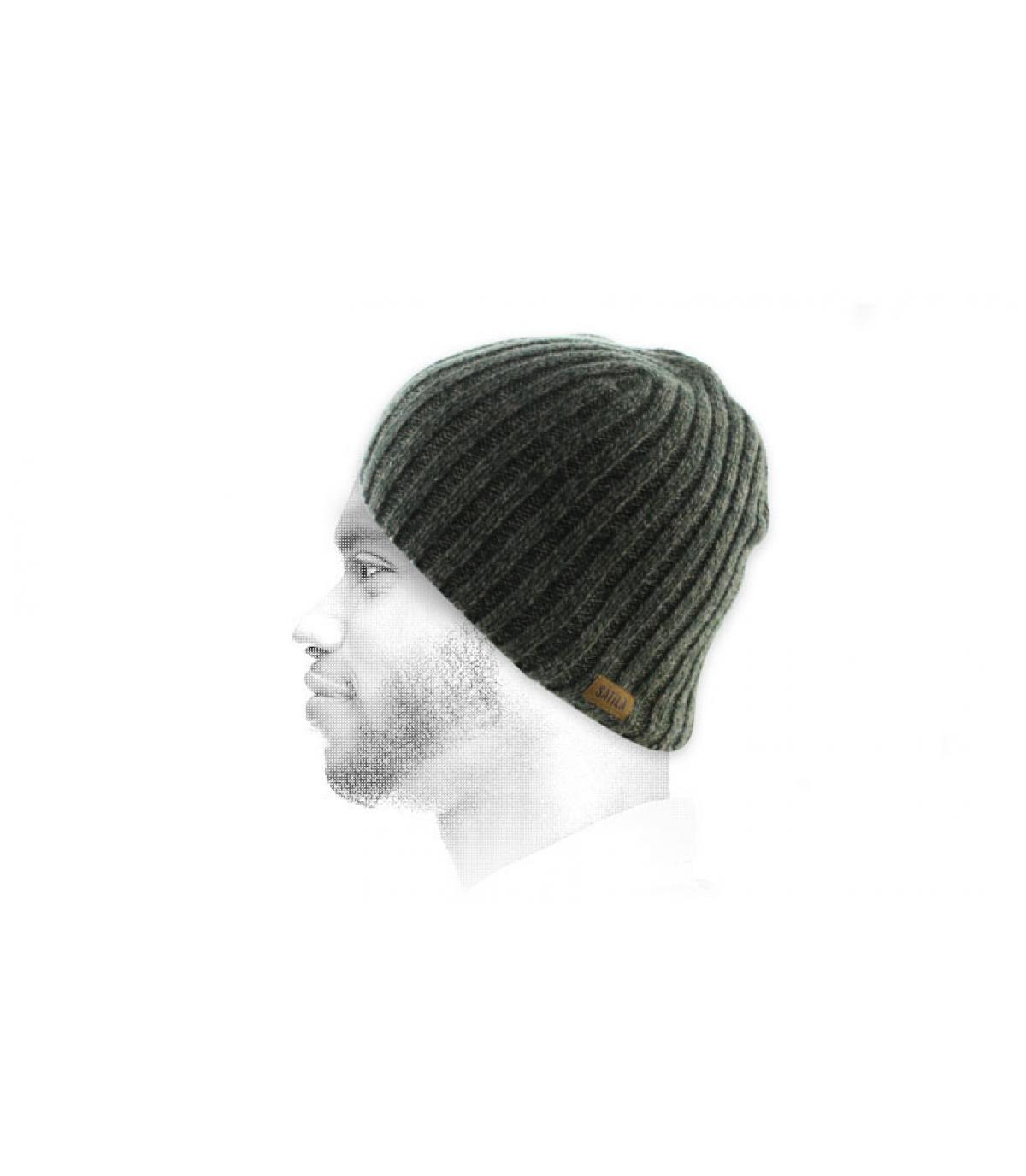 bonnet long vert chiné