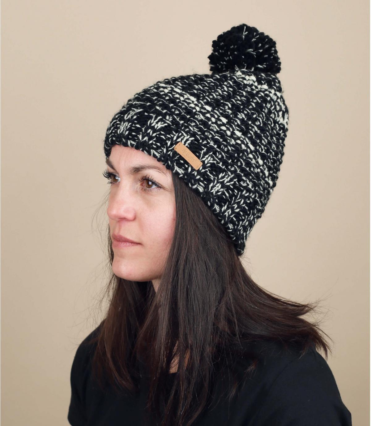 bonnet noir Barts pompon