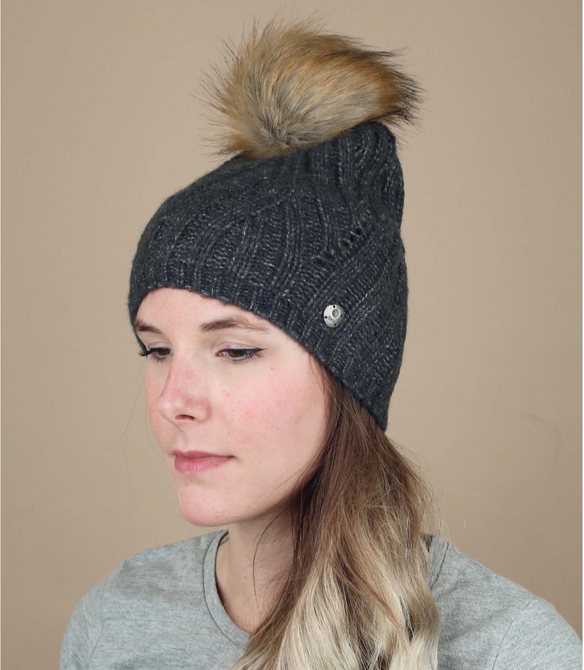 bonnet pompon fourrure gris
