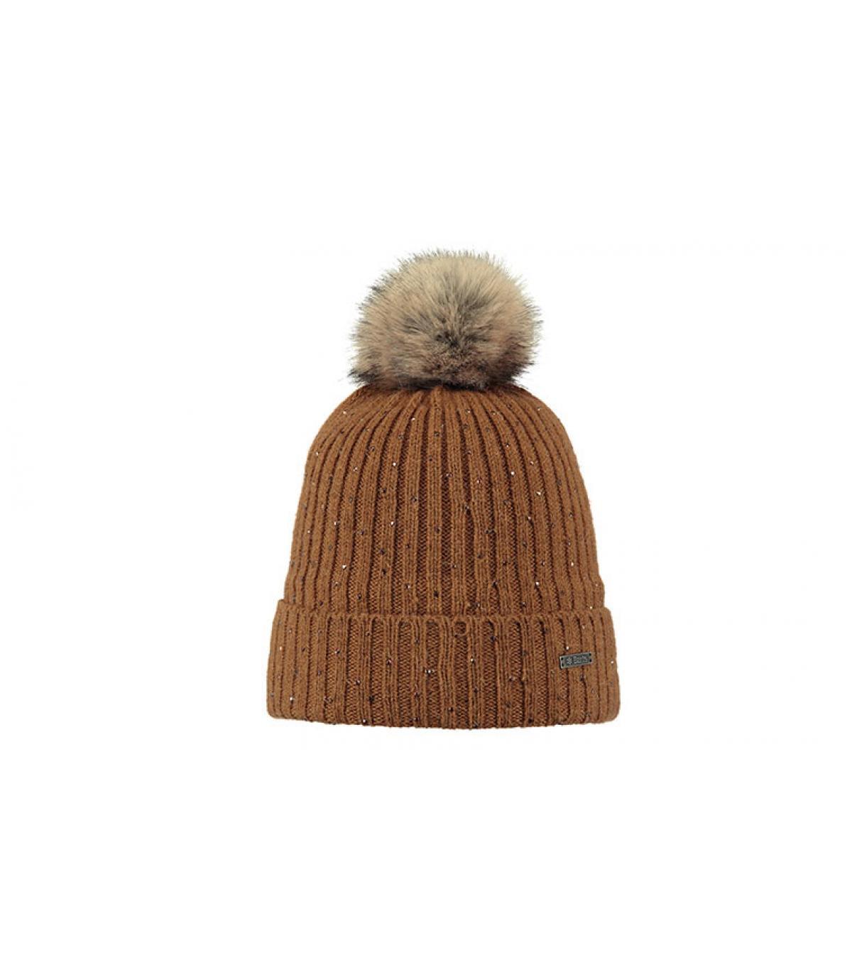 bonnet pompon fourrure strass marron