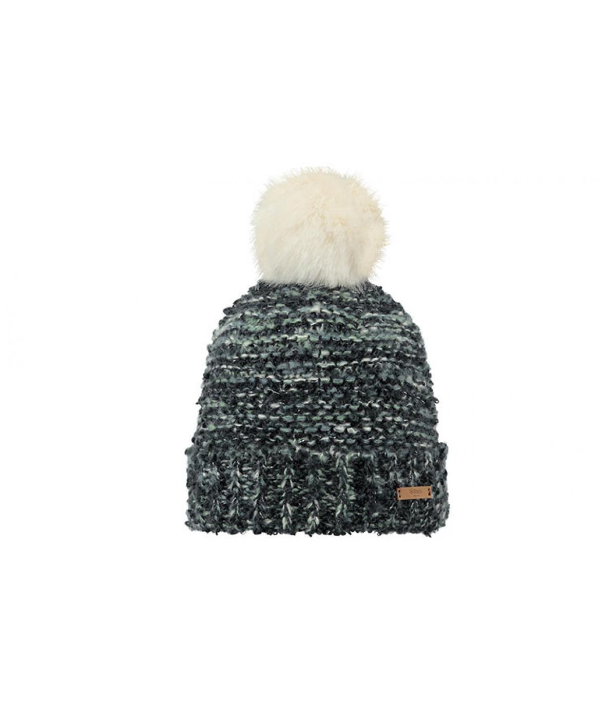 bonnet gris pompon blanc