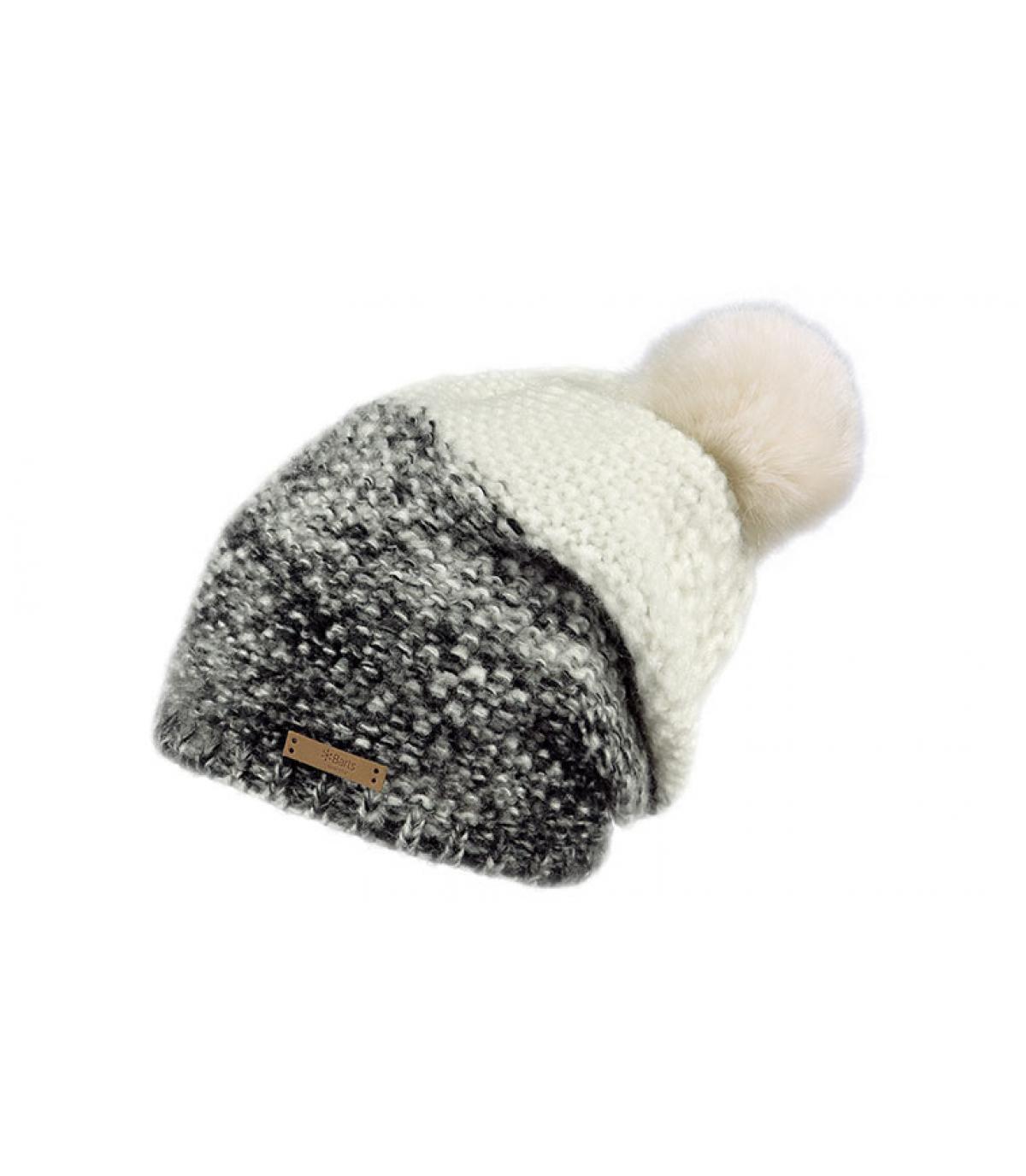 bonnet pompon bicolore gris