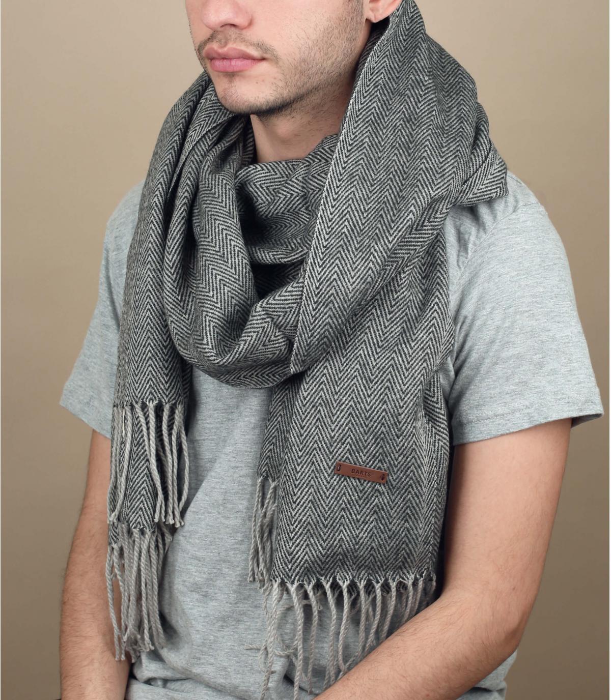 écharpe unie franges grise