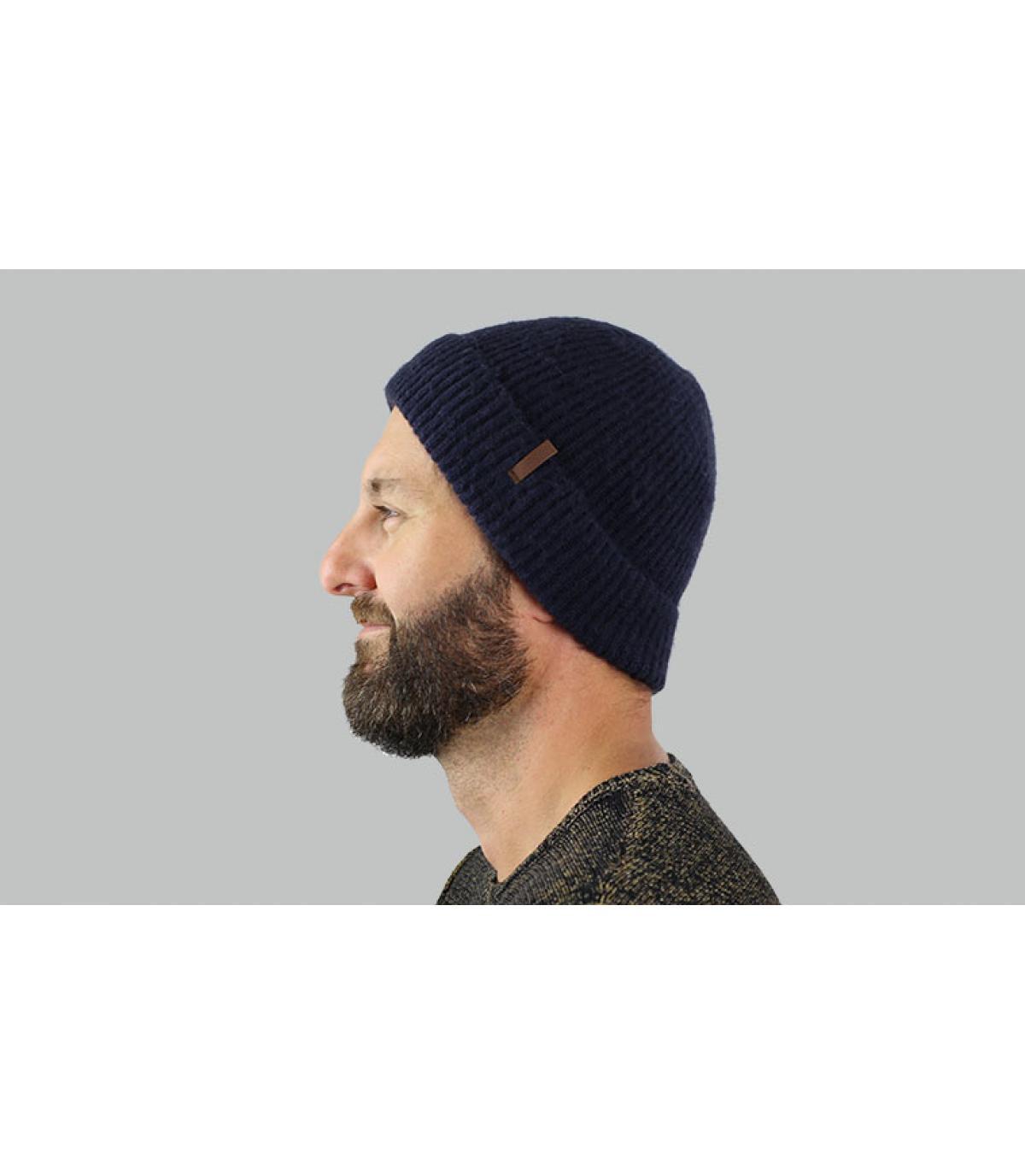 bonnet revers côtes bleu