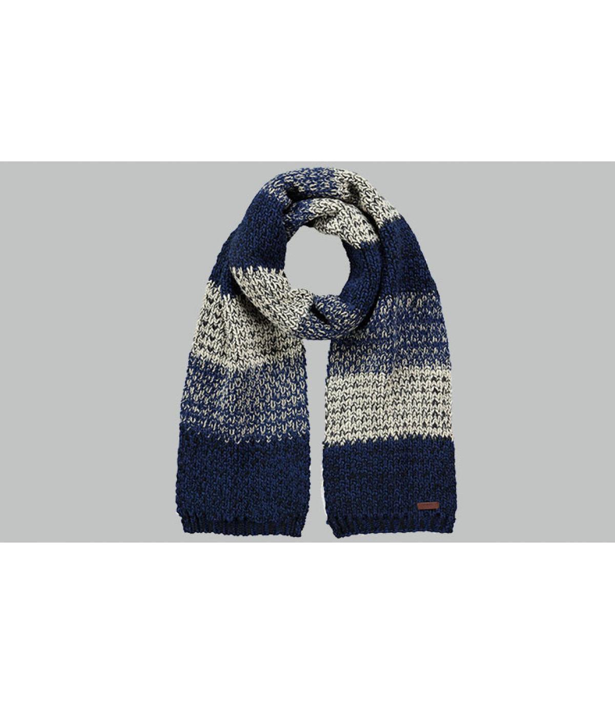 écharpe rayures bleu gris