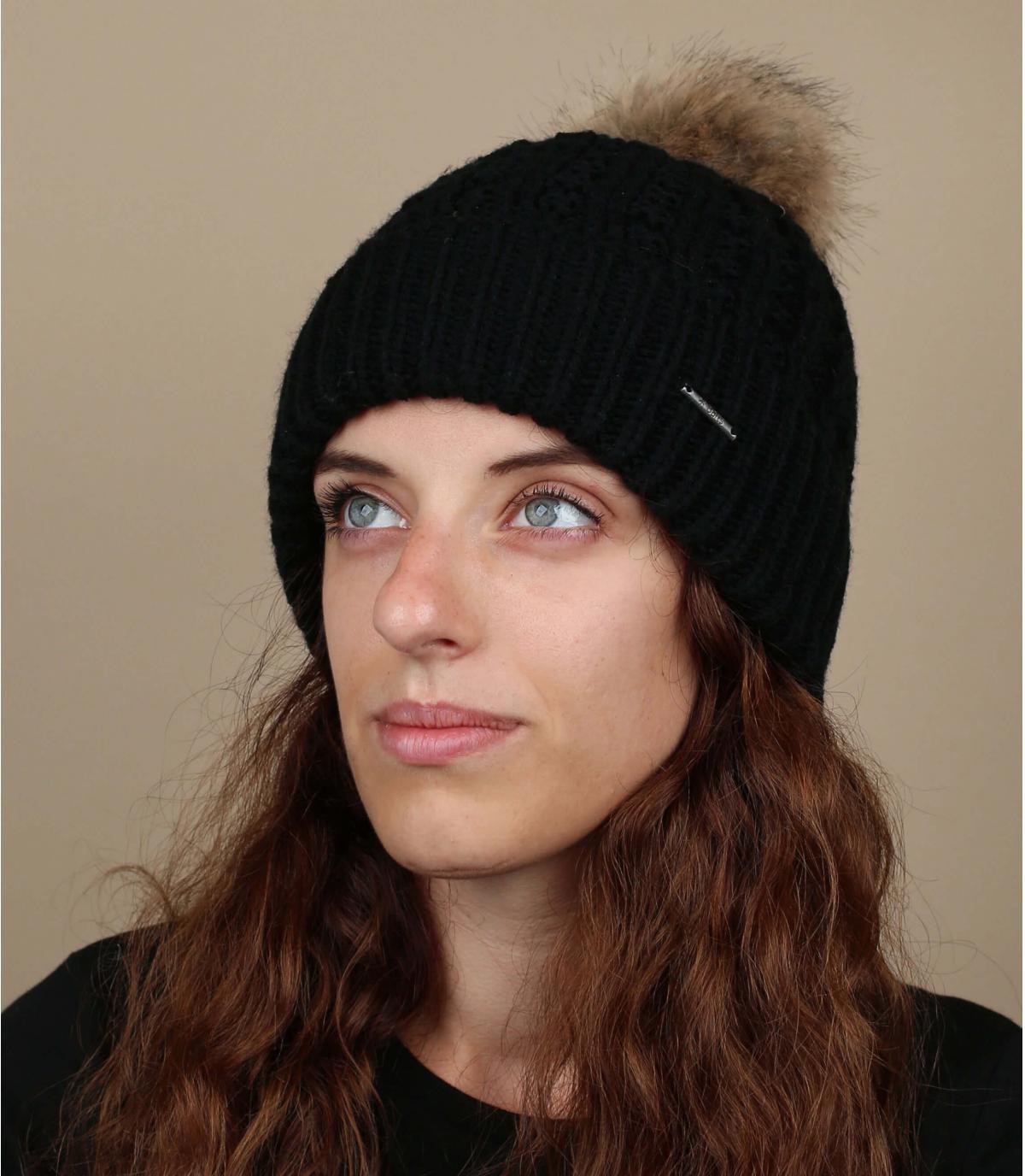Bonnet noir maxi pompon