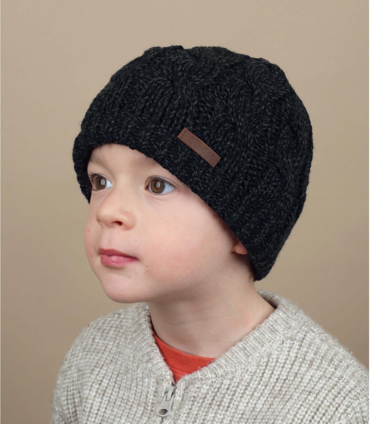 bonnet torsade enfant noir