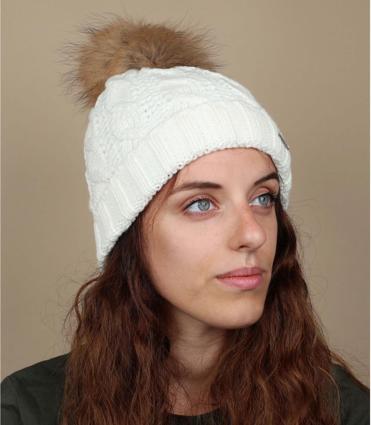 Bonnet blanc maxi pompon