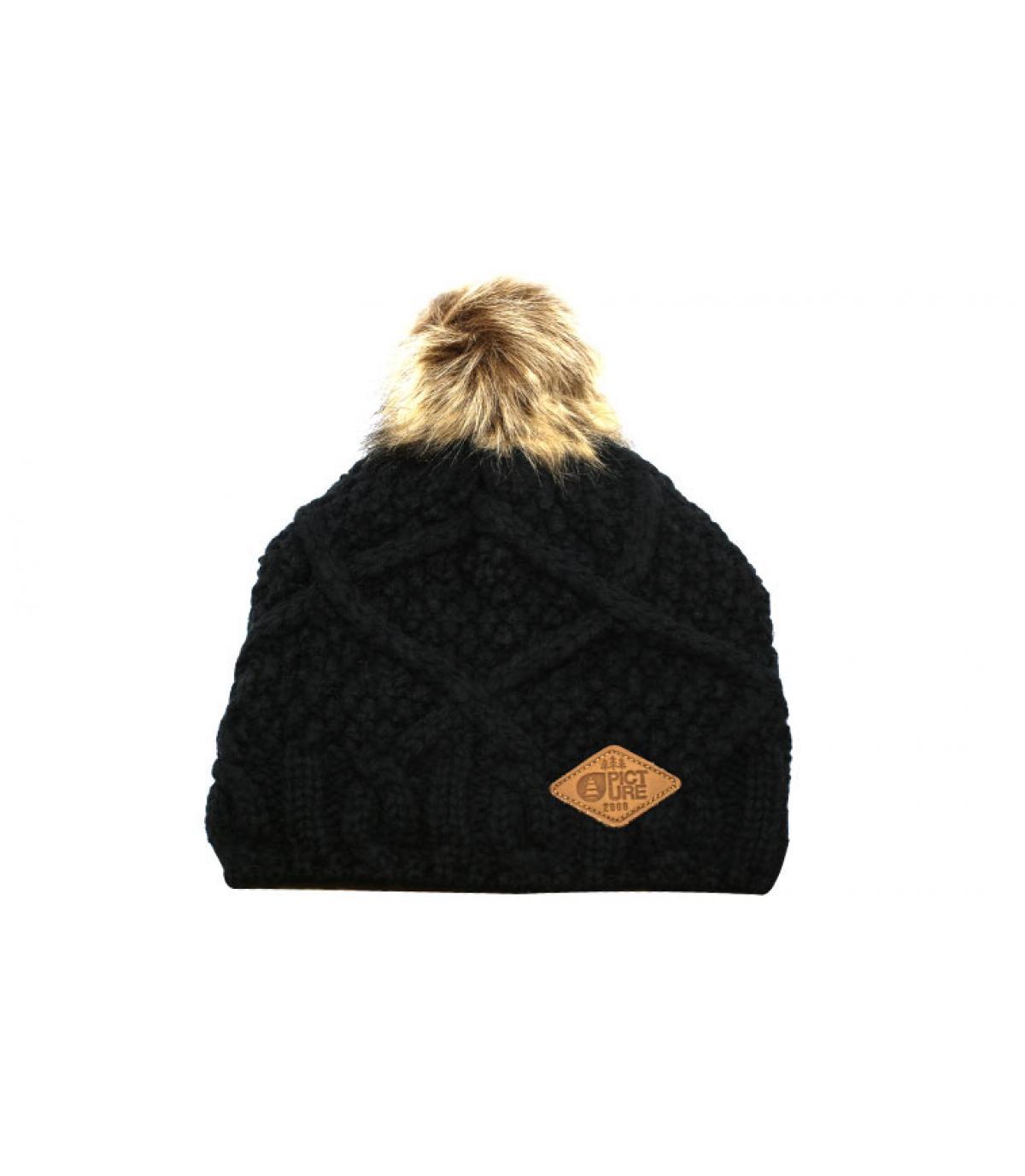 bonnet laine bleu pompon