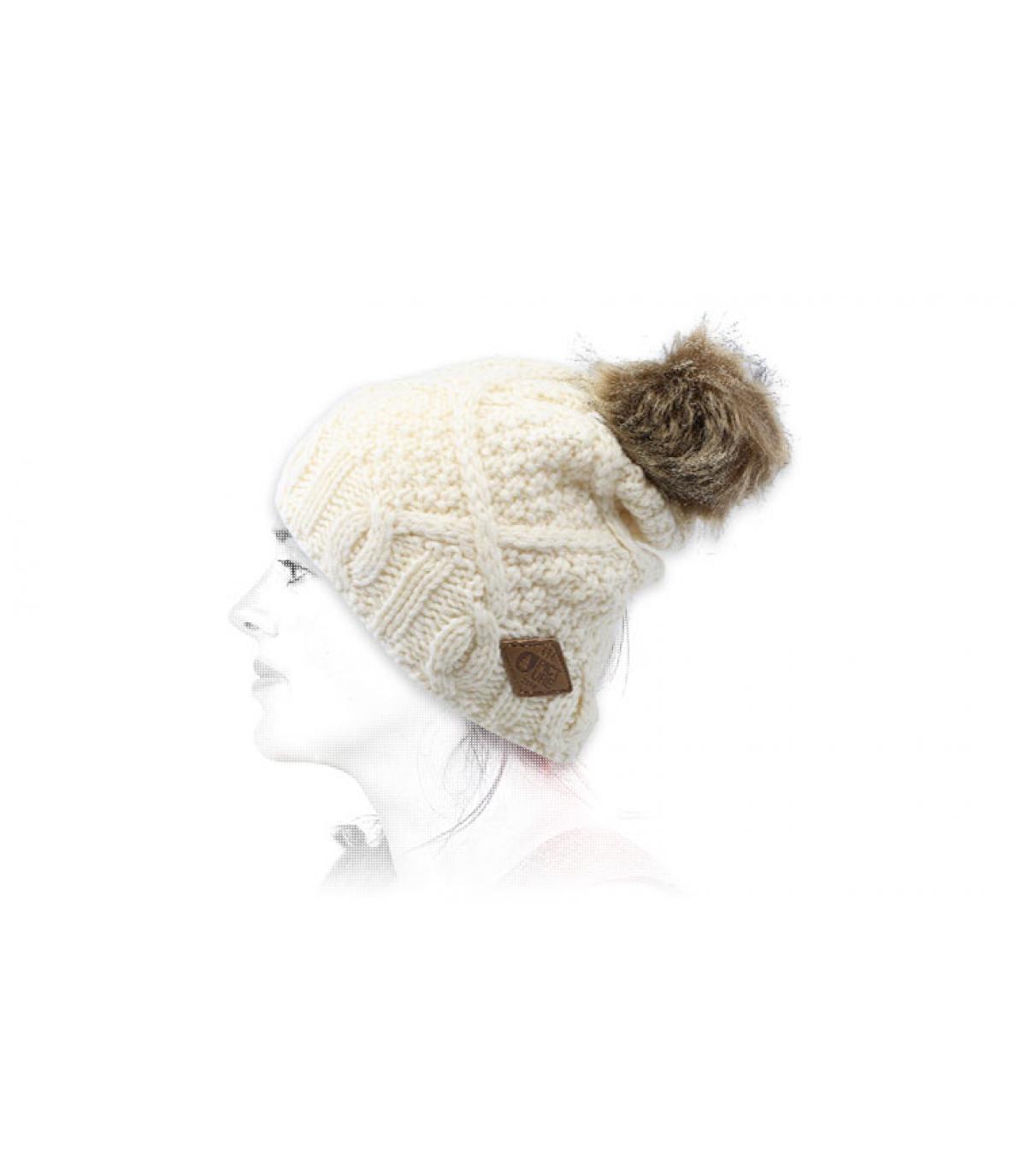 bonnet pompon blanc laine