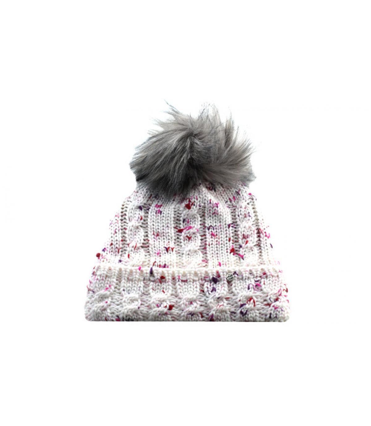 bonnet pompon blanc rose