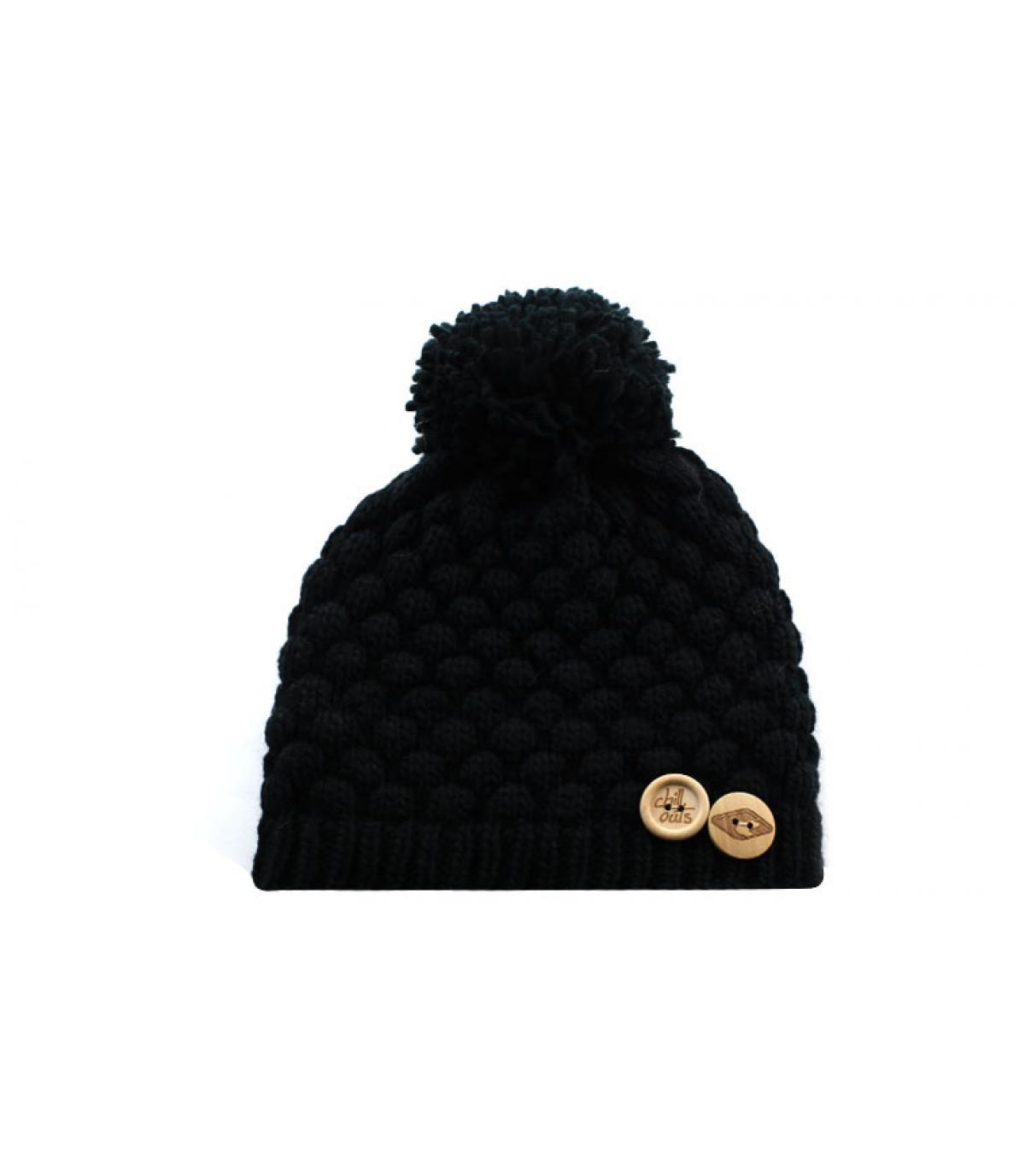 bonnet pompon noir boutons