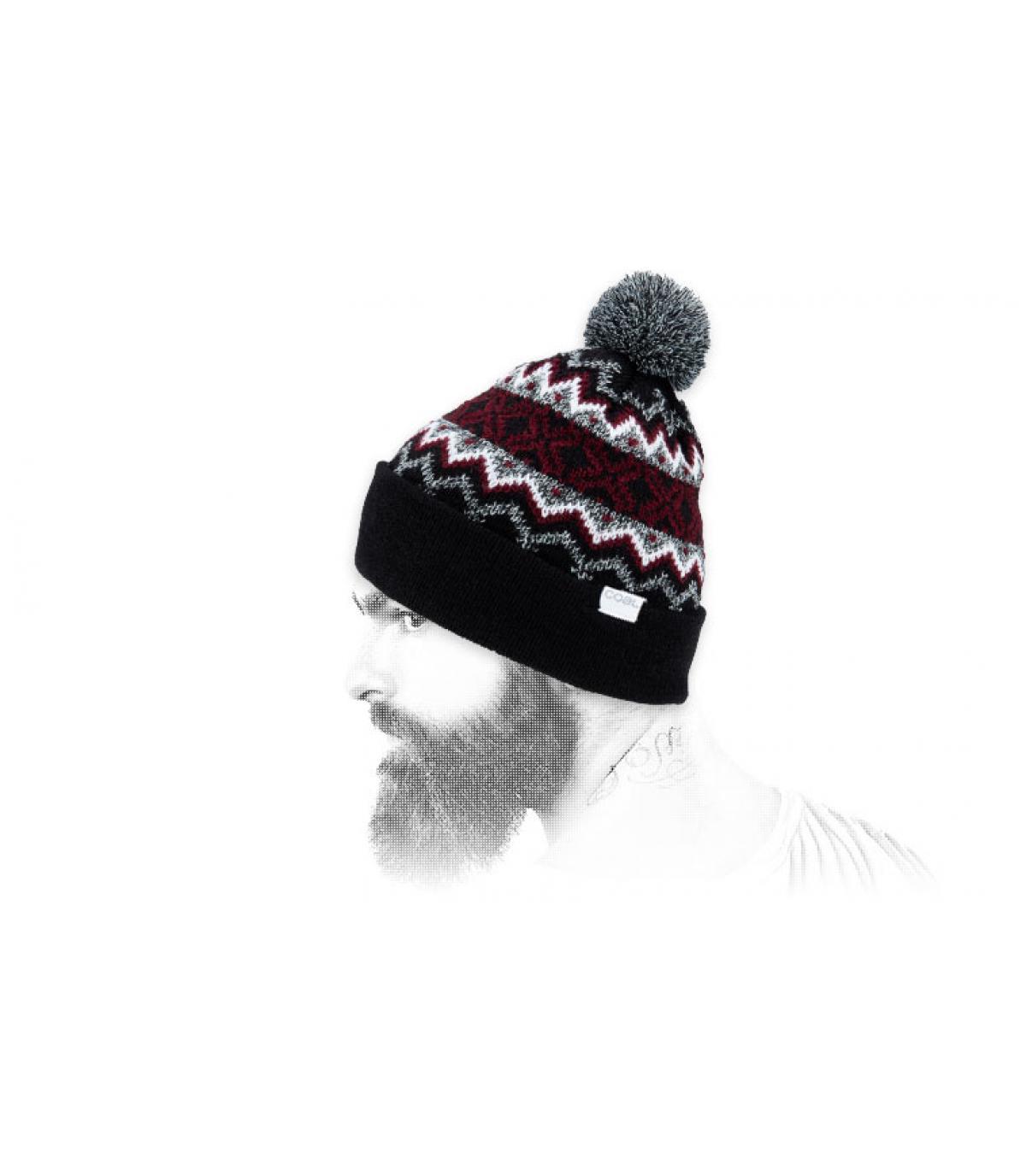 bonnet motif noir