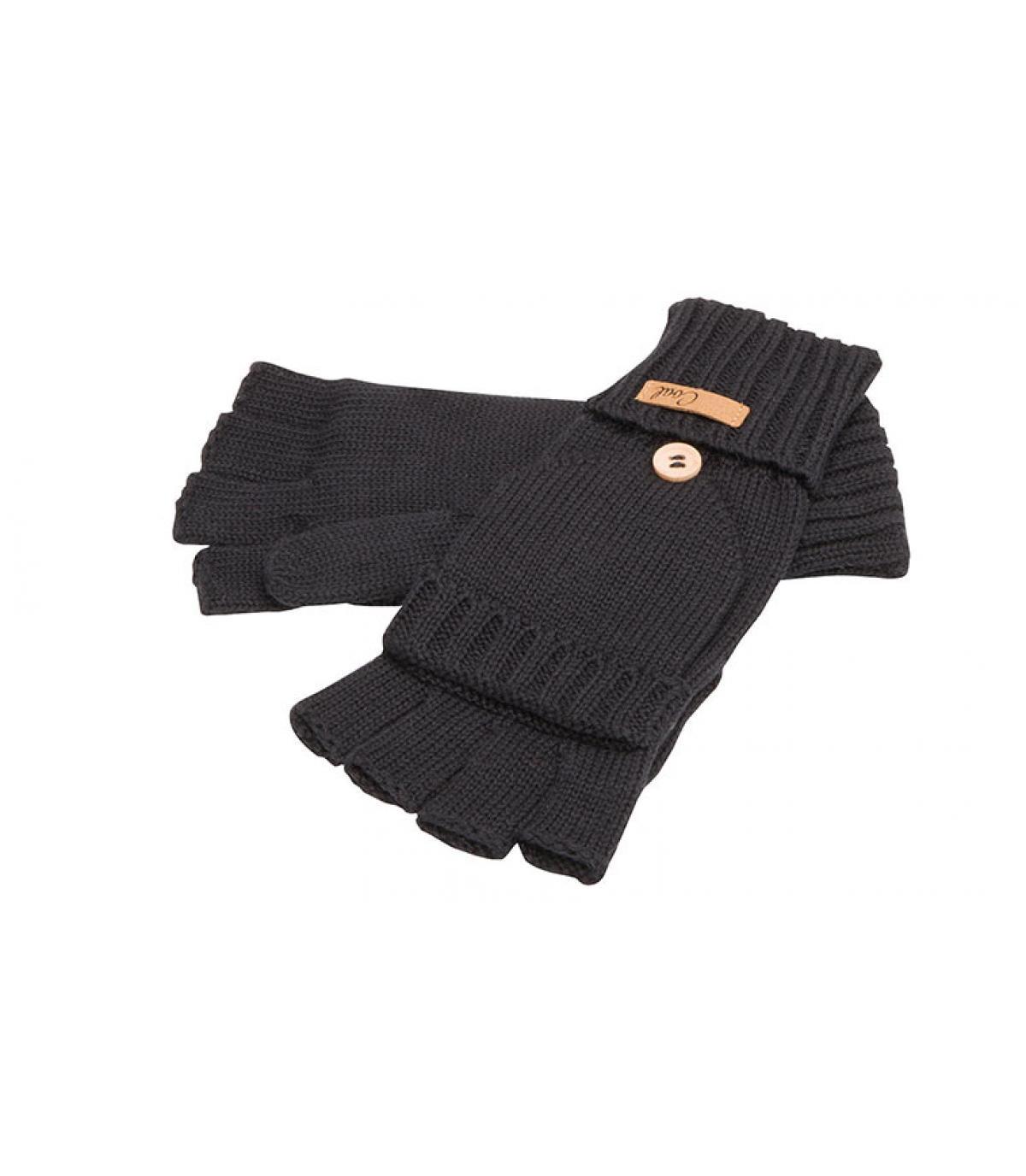 gants moufles noirs