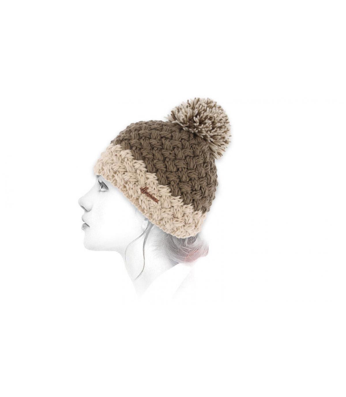 bonnet laine pompon beige