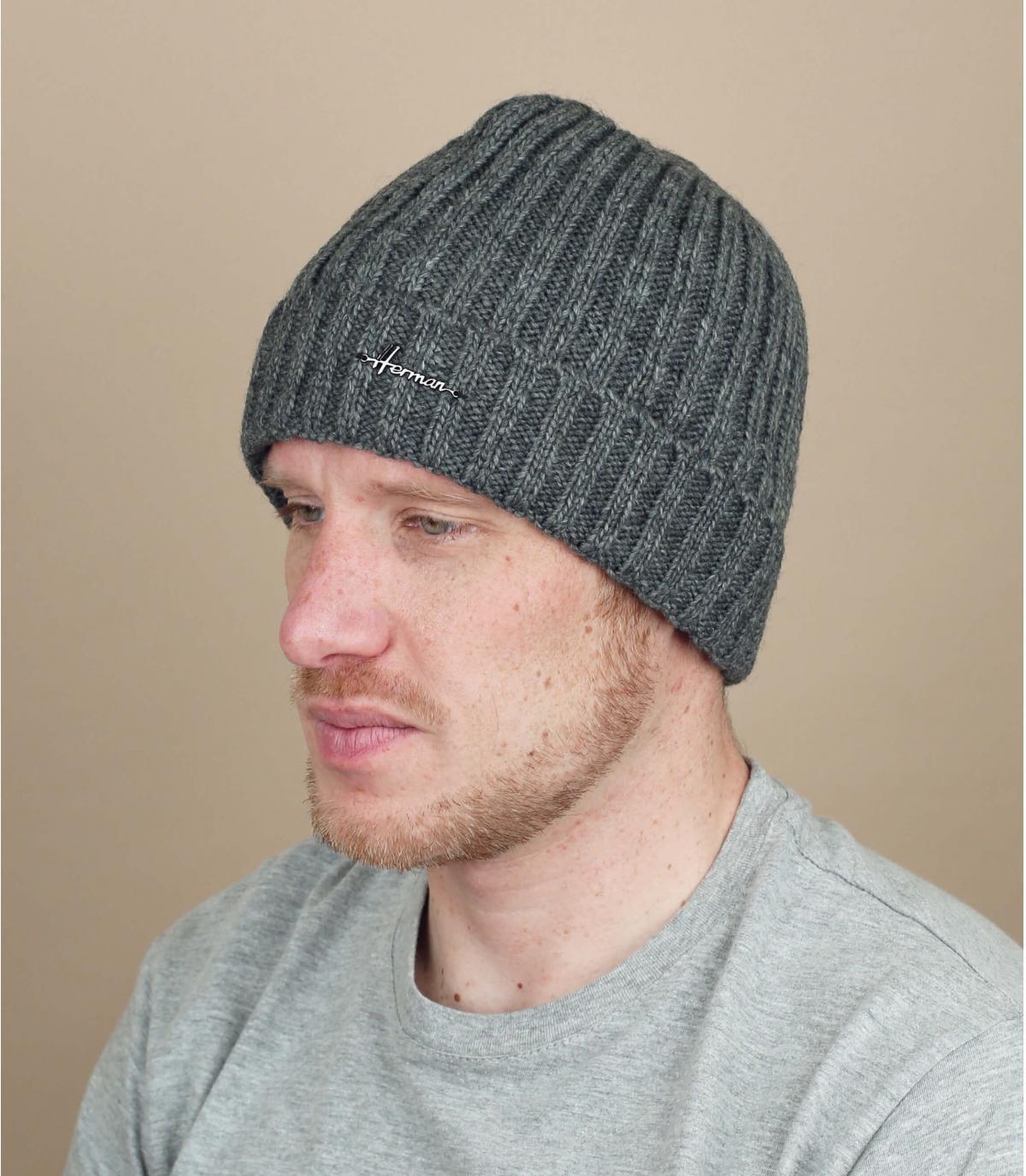 bonnet revers laine gris