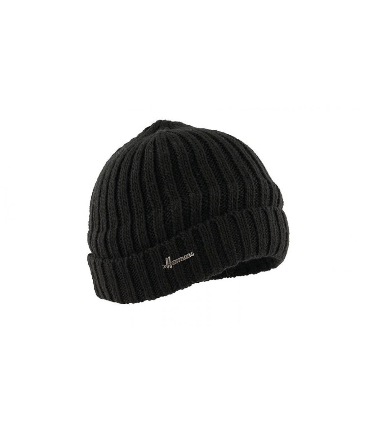 bonnet revers laine noir