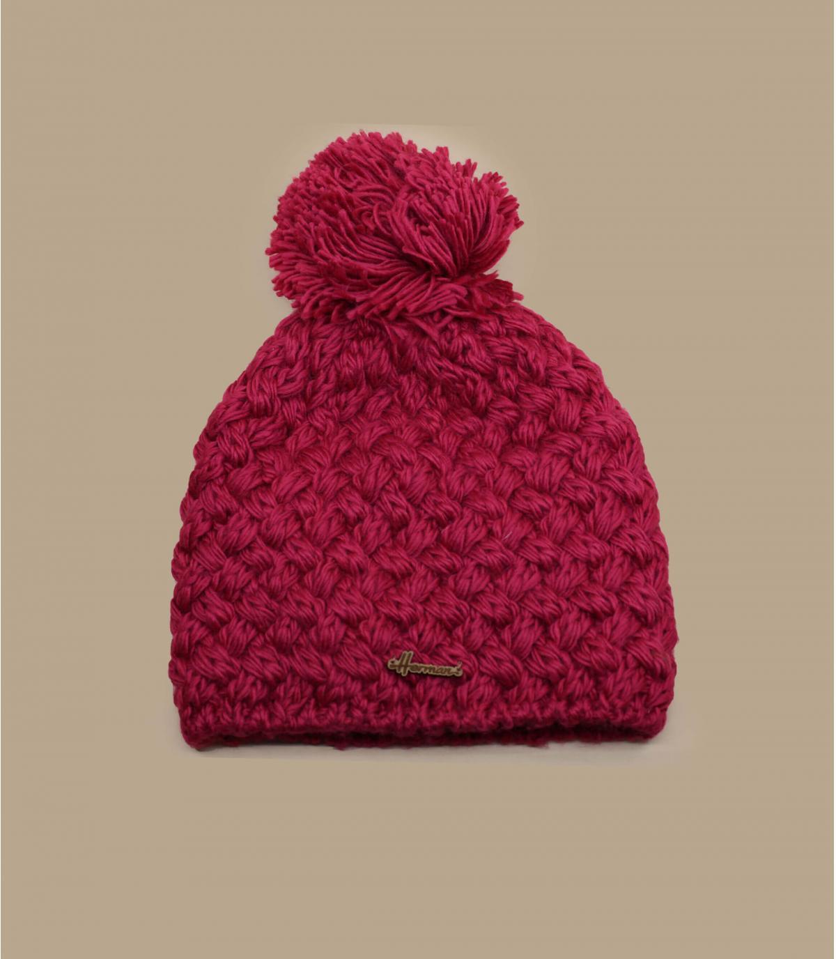 bonnet rose pompon laine