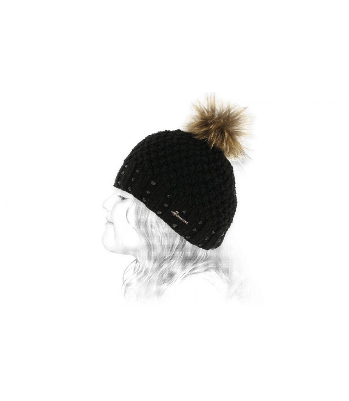 bonnet enfant noir pompon fourrure