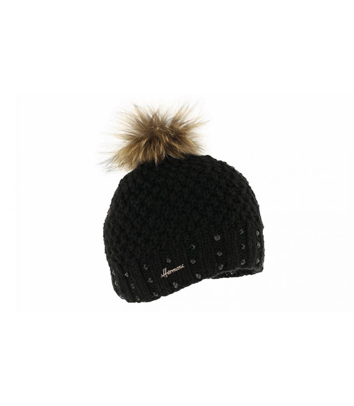 bonnet enfant noir pompon fourrure - Isys Kids black Herman Headwear -  image 1 ... c57f2526219