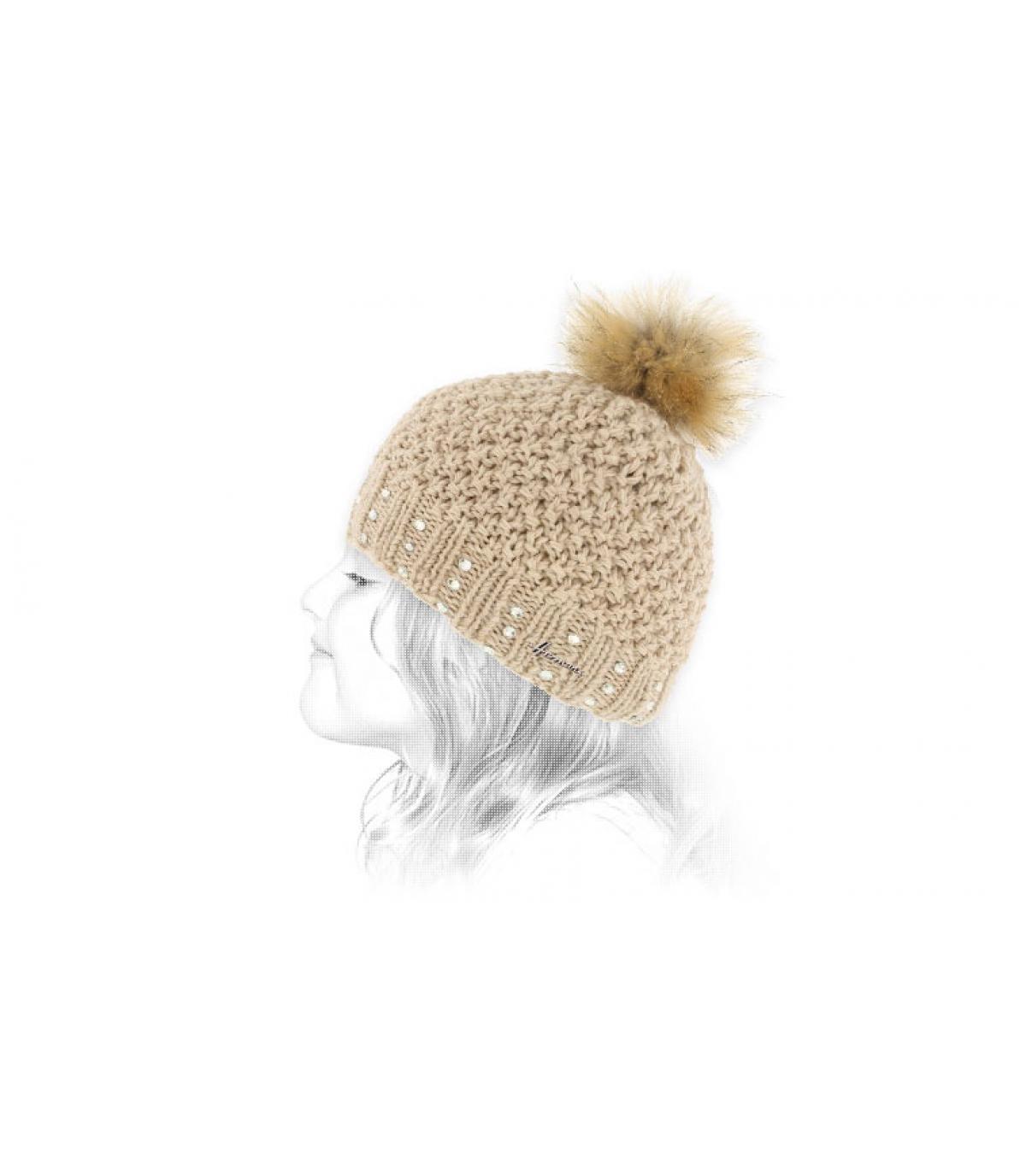 bonnet enfant beige pompon fourrure