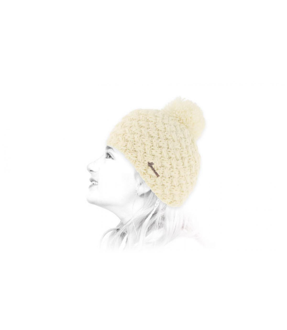 bonnet enfant blanc pompon