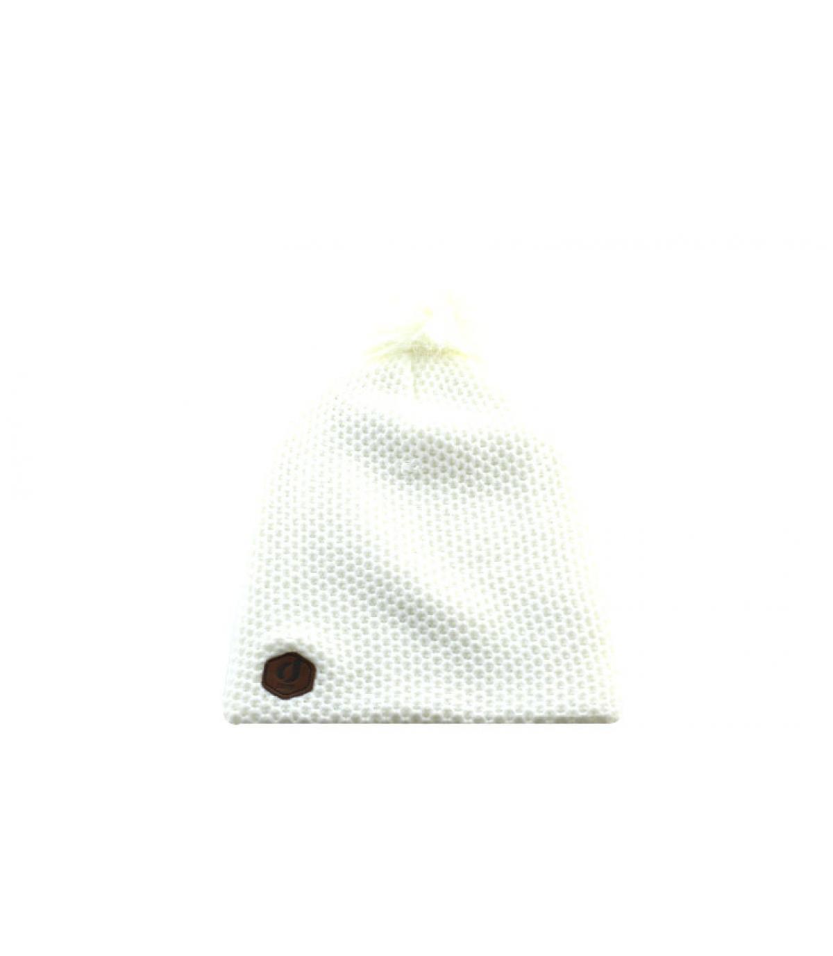 bonnet long blanc pompon