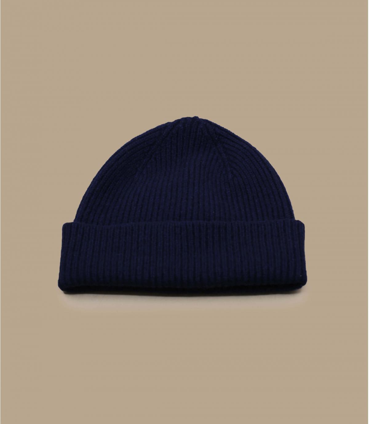 bonnet revers marine laine angora