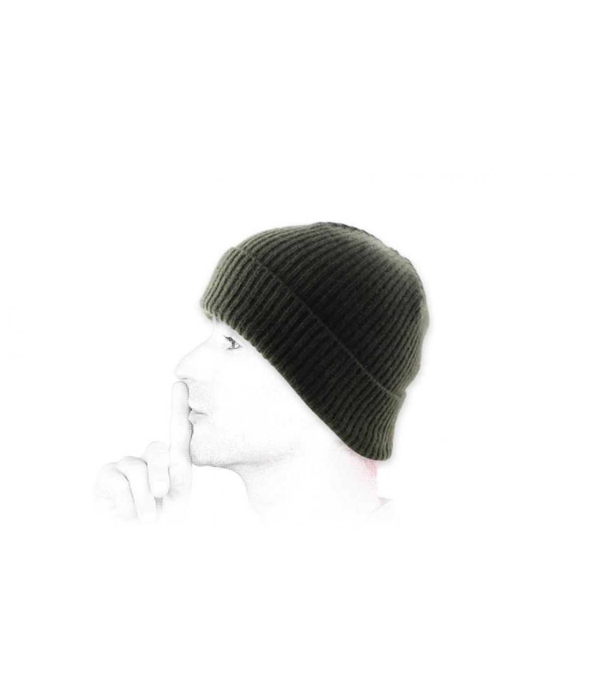 bonnet revers laine vert