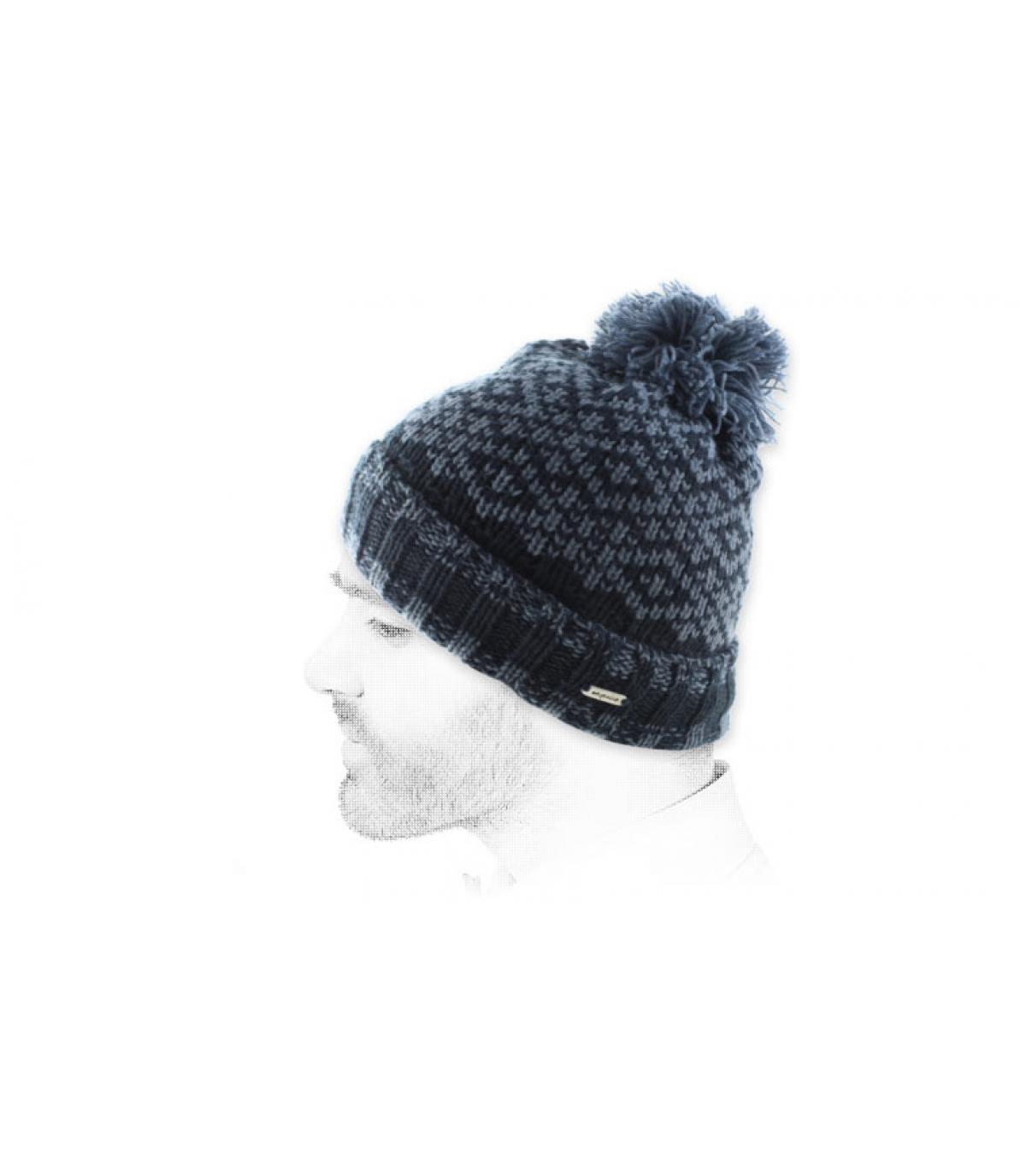 bonnet pompon bleu foncé